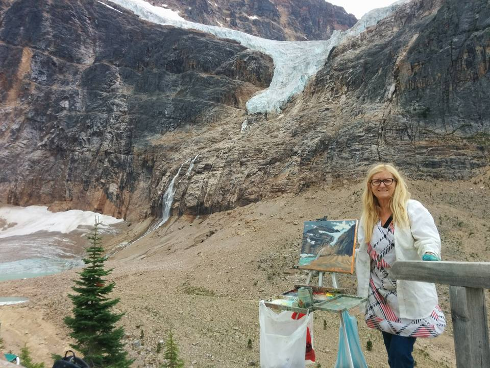 Angie                                                   painting in Jasper at                                                   Mount Edith Cavell