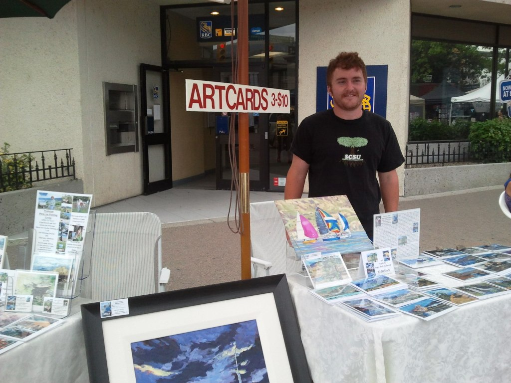 Son Kieran organized an                                           art table for me at the                                           Saturday market this summer in                                           downtown penticton