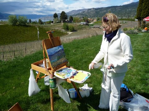 Angie Painting En Plein Air May 8th, 2010