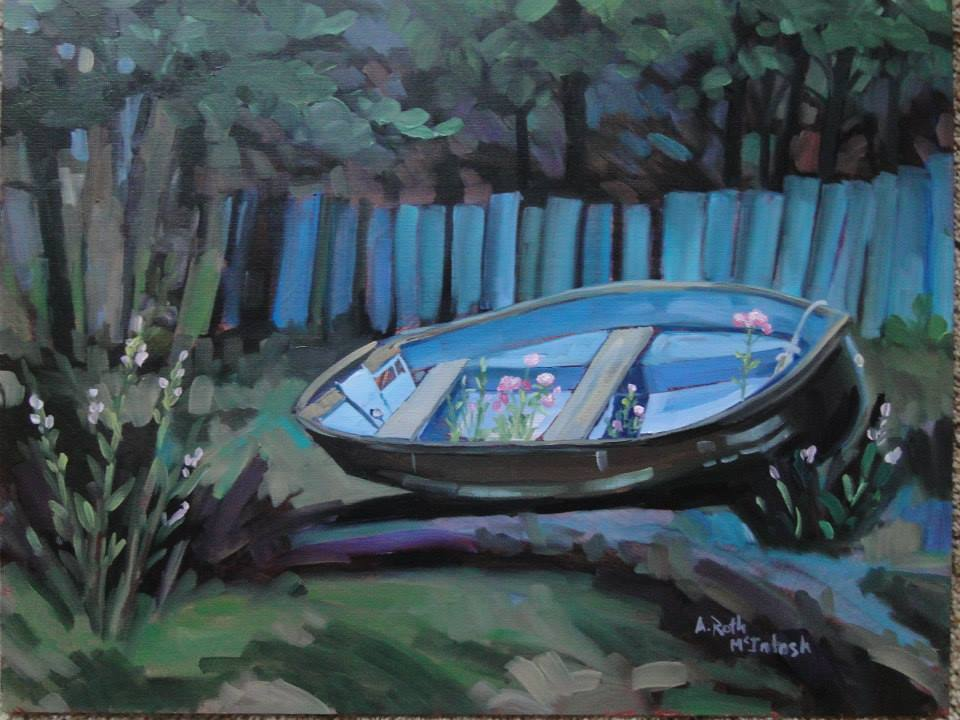 Blue Boat 16x20 Oil Painting by                                     Angie Roth McIntosh painted from                                     life in Stewart BC