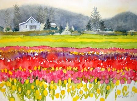 Angie's painting of the tulip fields