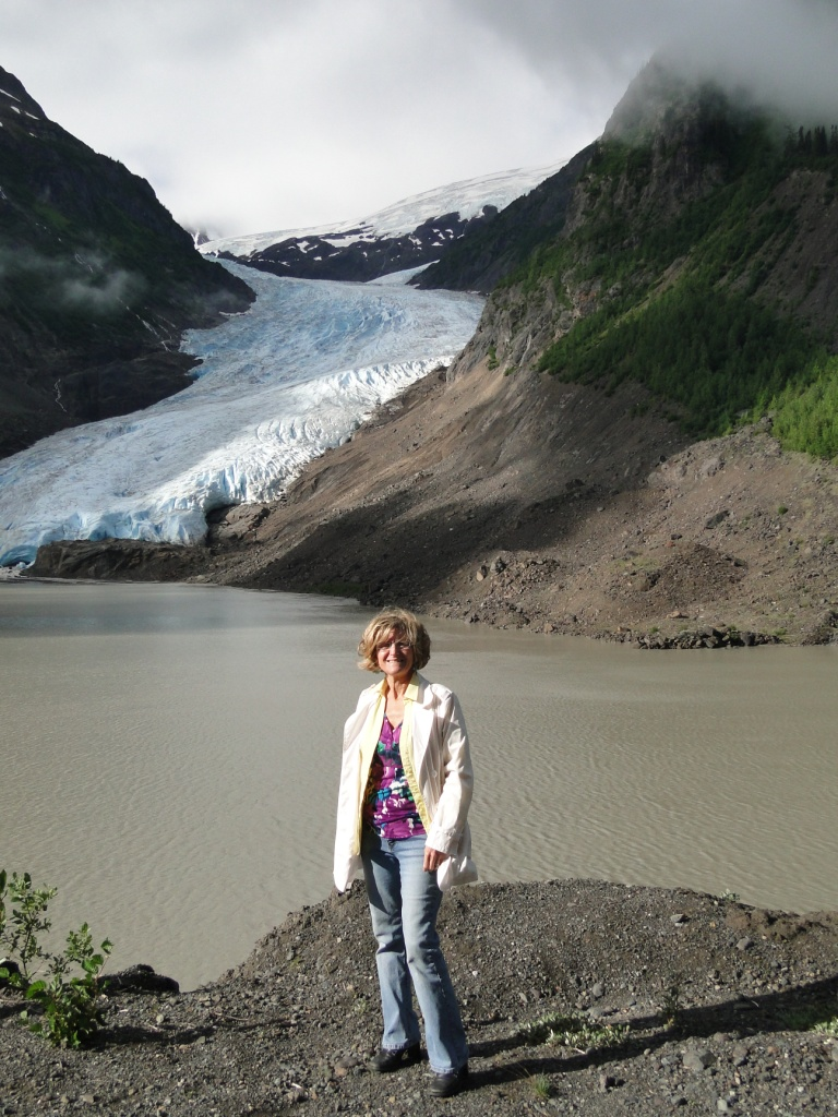 Angie at the Bear Glacier on way in to Stewart BC