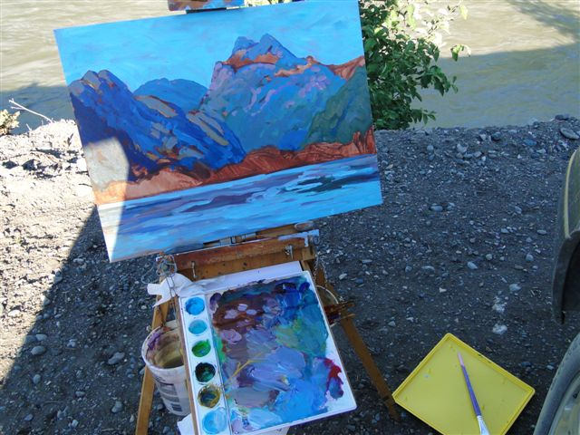 Painting the Bear River Estuary and Mountains