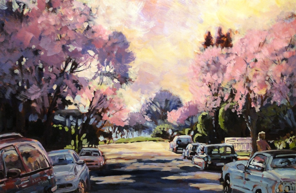 Pink Blossoms Acrylic by Angie Roth McIntosh