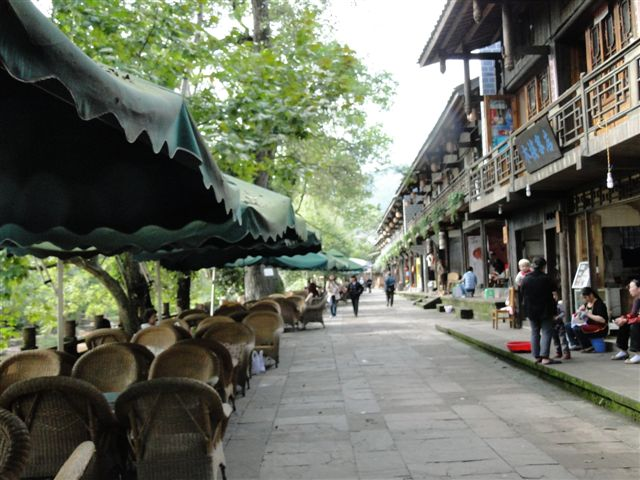 Sidewalk with                                                     teahouses in Shangli                                                     Sichuan