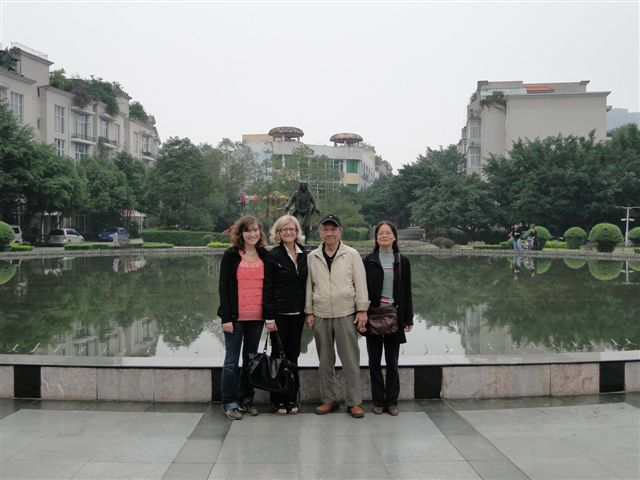 Prof.Wu at home at                                               Music Garden near Chengdu                                               with Wife Tina and Angie                                               and Kelsey