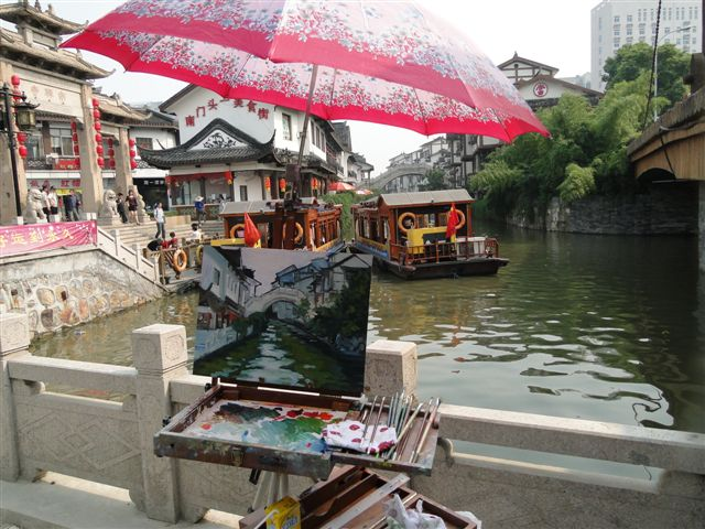 My painting setup in                                             Wuxi on the Canal at Nanshan                                             Temple
