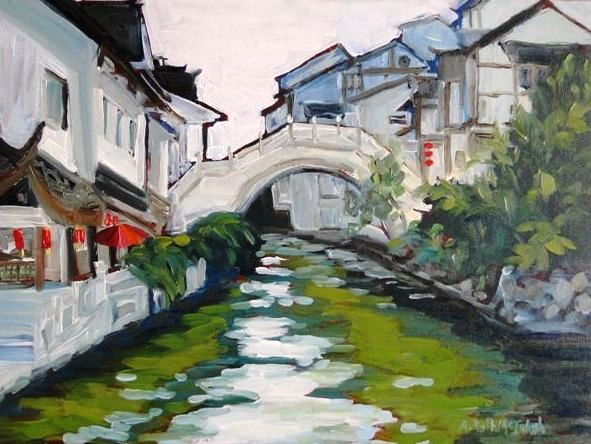 Plein Air Painting of Canal in                                     China by Angie Roth McIntosh in oil