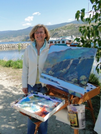Angie McIntosh painting at the marina in Penticton