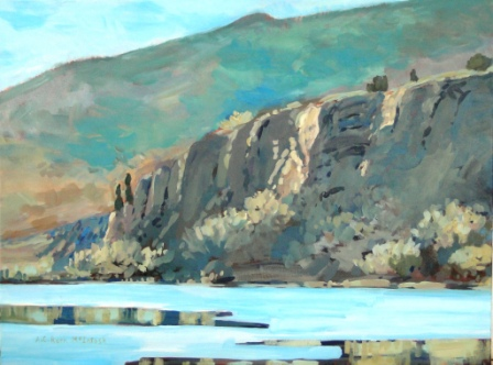 Morning Light (Penticton Claybanks) Acrylic painting by Angie Roth McIntosh