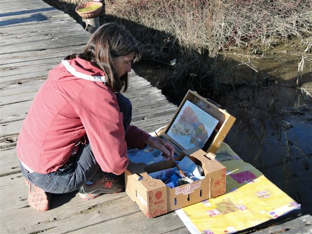 Barb Hillier painting at                                           Finn Slough Richmond to Paint