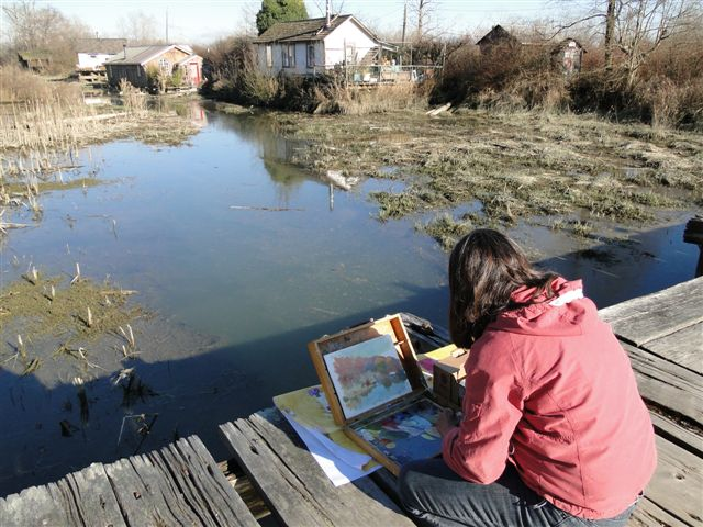 Barb                                           working on second painting of                                           Finn Slough