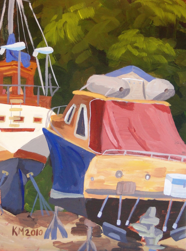 Kelsey  McIntosh acrylic painting of boats at Maple Bay