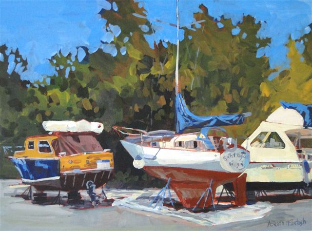 Three Boats in Acrylic Painted by Angie Roth McIntosh