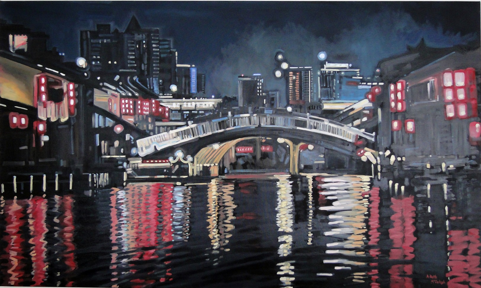 Completed painting Amazing                                         night lights in Wuxi China