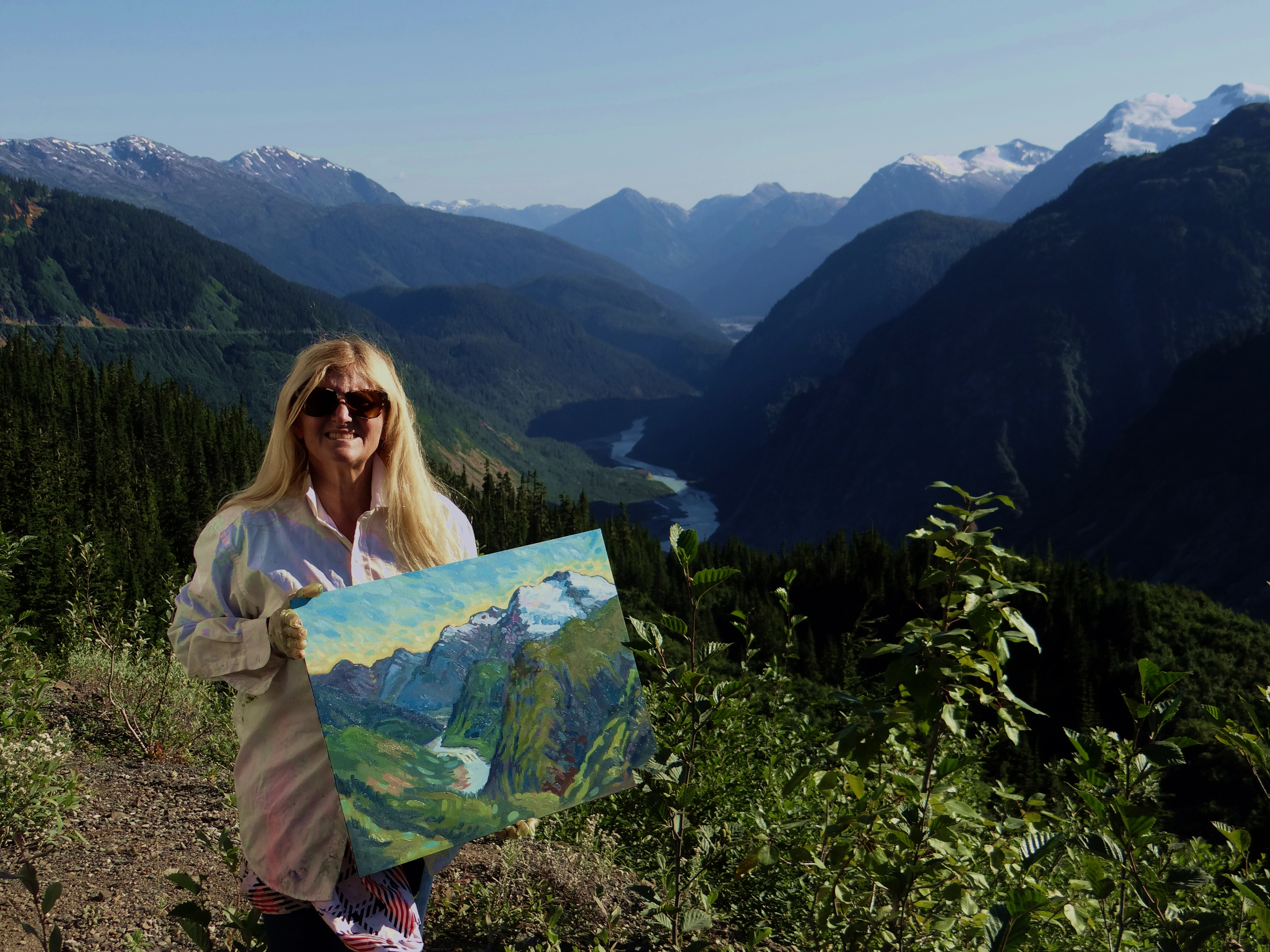 Angie Roth                         McIntosh painting near Salmon Glacier northern                         BC and southern Alaska