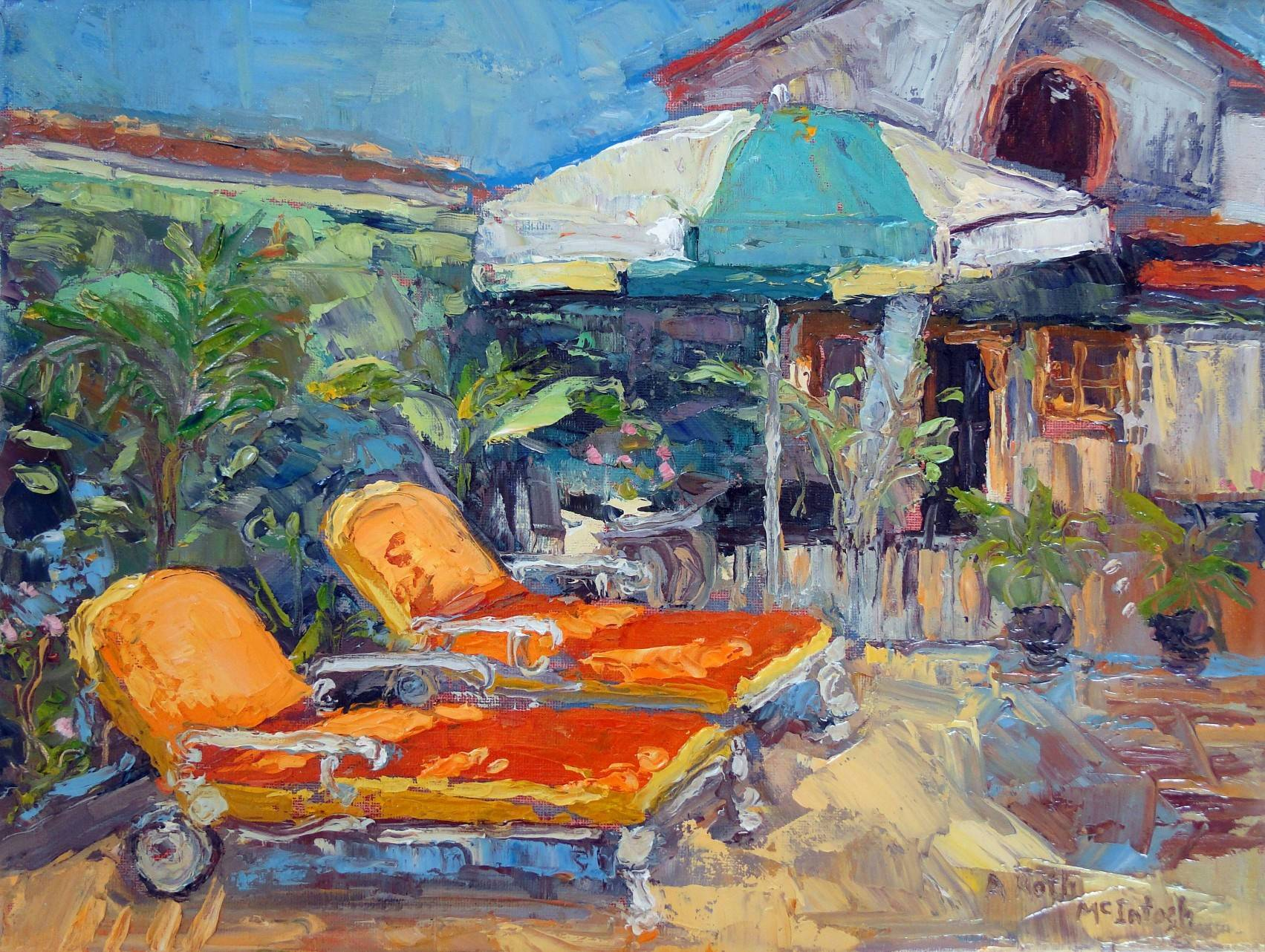 Orange Chairs and Umbrella