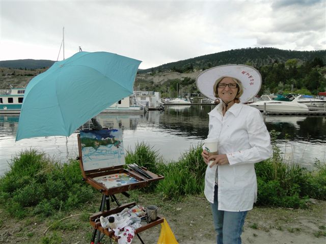Angie painting at Okanagan Marina Penticton