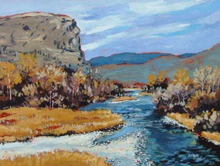 Okanagan River at McIntyre Bluff Acrylic painted by Angie Roth McIntosh