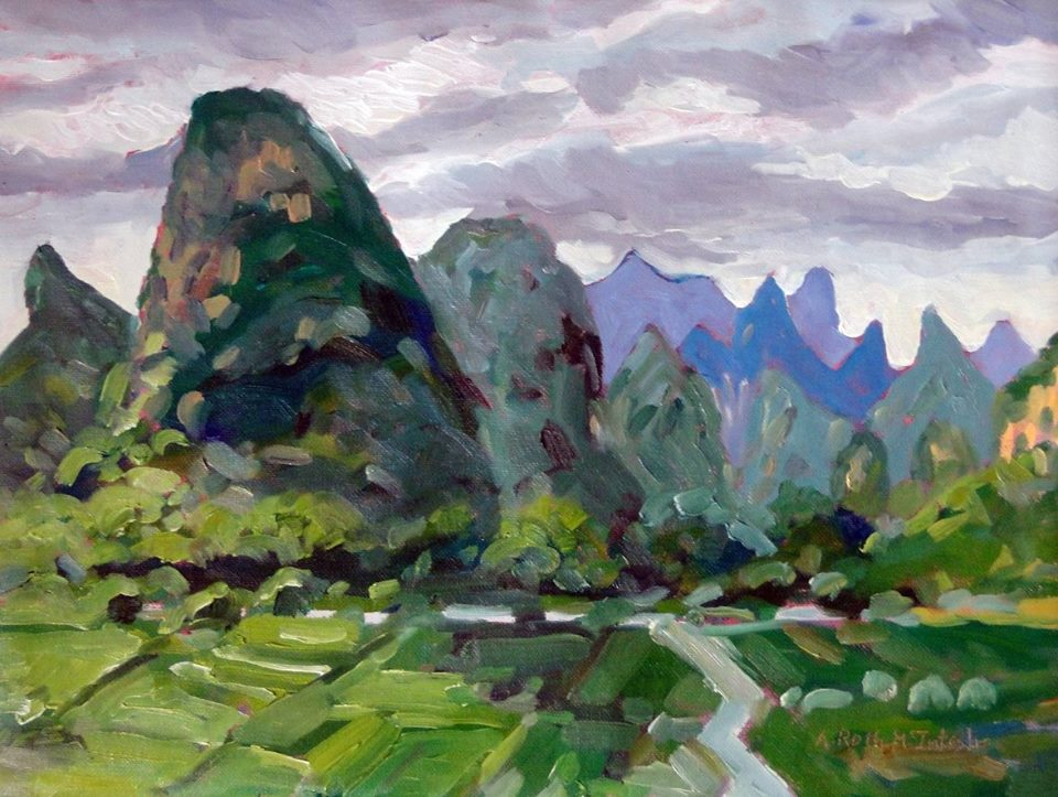 12x16 painting of the                                           Green Karst Hills in Guilin                                           area of China by Angie Roth                                           McIntosh