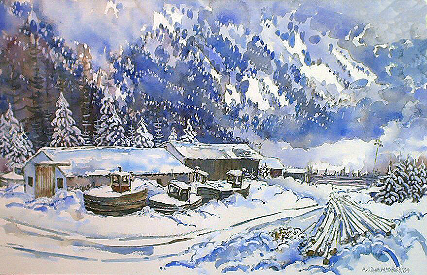 Painting of Tugs in Snow