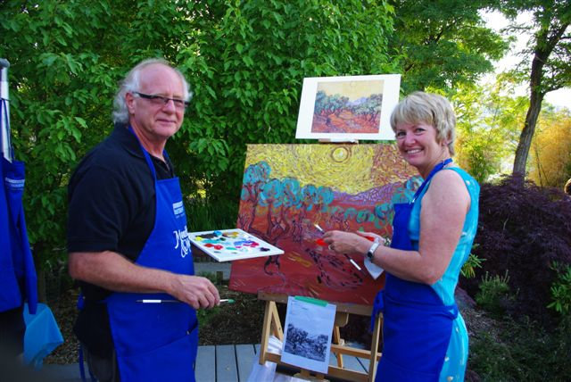 Ken Gillespie and Robin Lake working on Starry Starry Night painting
