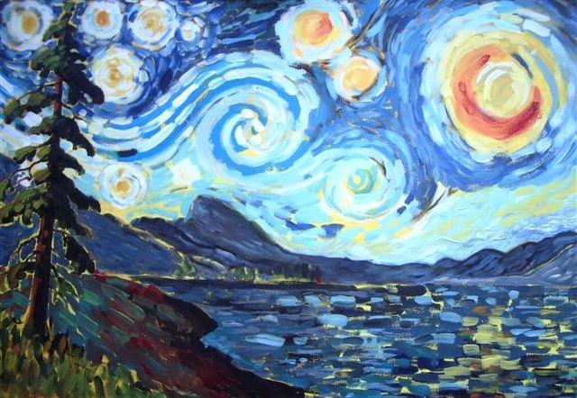 Starry Starry Night painting by several local artists including Angie McIntosh