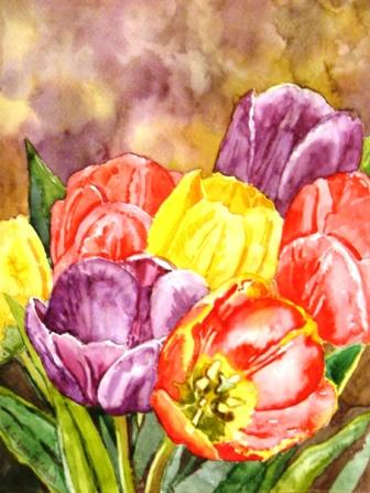 Colourful Tulip                                           watercolour by Angie Roth                                           McINtosh